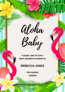Pink flamingo with jungle leaves, flowers, tropical party invitation. Place for text. Great for flyer, baby shower invitation, wedding, poster.