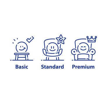 Service upgrade concept, three options, basic subscription, standard account, premium plan