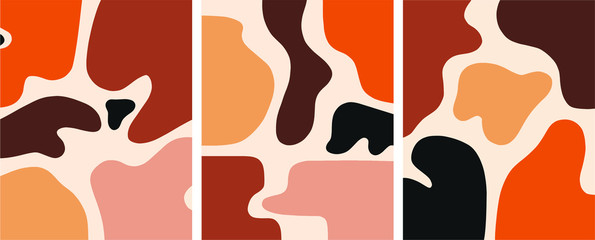 Minimalist organic shapes design, flat  art postcard,nordic scandinavian design,poster set earthy tones natural colors