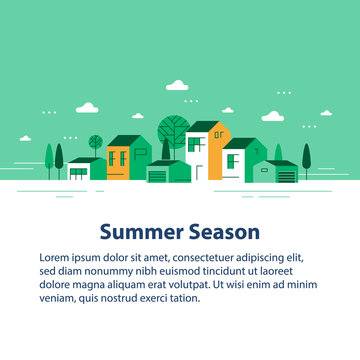 Summer season in small town, tiny village view, row of residential houses, beautiful green neighborhood