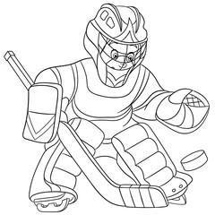 coloring page with boy hockey player