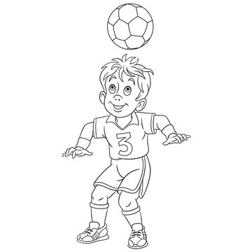 coloring page with boy football player