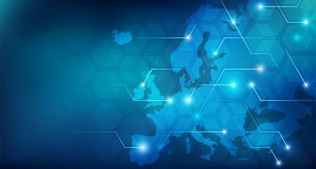 Connected European map concept – European Union, trade, digitalization, future Fototapete