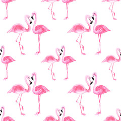 Door stickers Flamingo Watercolor pink flamingo pattern on an isolated white background, watercolor drawing. Stock illustration.