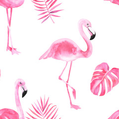 Tuinposter Flamingo Jungle isolated seamless pattern with tropical leaves, palm monster banana, flamingo on an isolated white background. Fabric wallpaper print texture. Stock illustration.