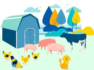 Farm yard, animals. Flat in minimalist style. Cartoon raster