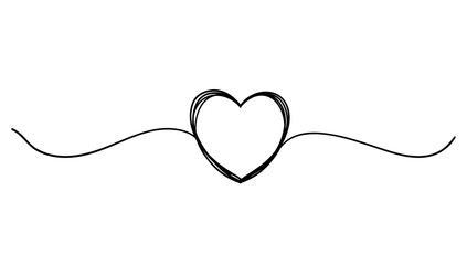 Tangled grunge round scribble hand drawn heart with thin line, divider shape. continuous line style vector isolated
