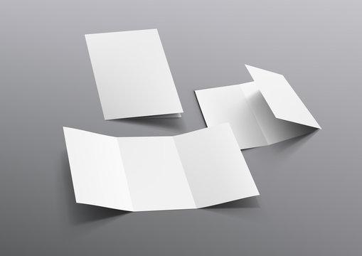 Realistic Tri-Fold A5 Or A4 Brochure Mockup