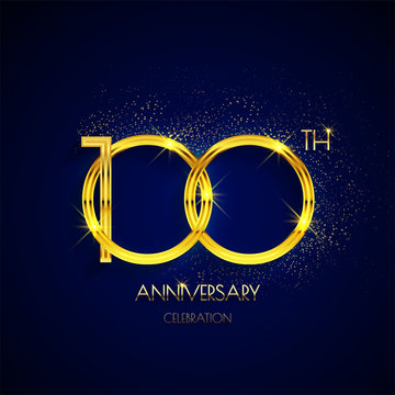 100th anniversary logo with luxury golden isolated on elegant blue background, sparkle, vector design for greeting card and invitation card