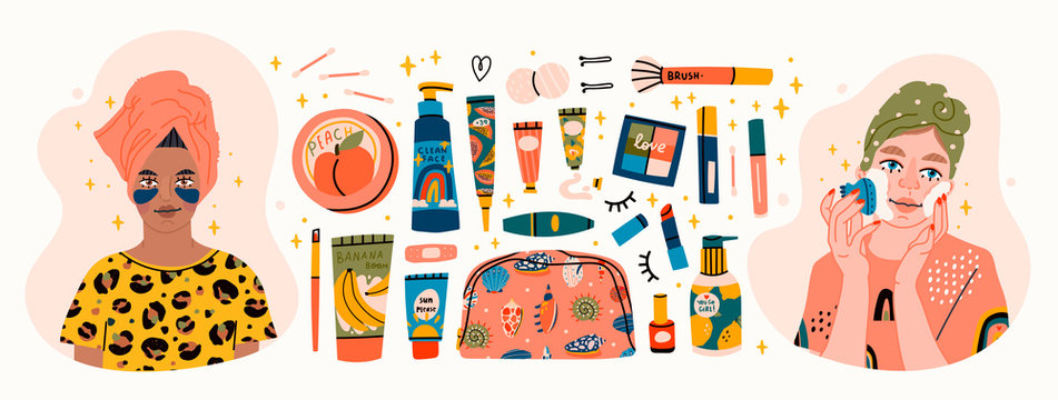 Beauty routine. Beautiful young ladies and various cosmetics. Face and body care concept. Cleansing, moisturizing, treating. Hand drawn vector set. Trendy illustration. All elements are isolated