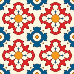 Papier peint en mosaïque ancienne avec motif floral. Ornement de carreaux de céramique éclectique. Motif de surface sans couture de style ethnique.