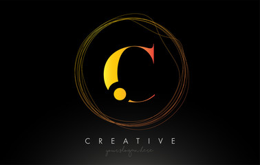 Gold Artistic C Letter Logo Design With Creative Circular Wire Frame around it