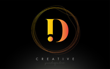 Gold Artistic D Letter Logo Design With Creative Circular Wire Frame around it