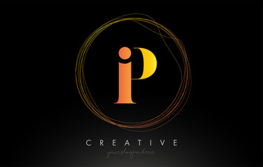 Gold Artistic P Letter Logo Design With Creative Circular Wire Frame around it