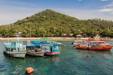 Koh Tao island Thailand. Songserm Pier with boats and ships.