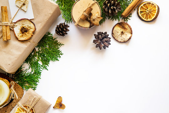 eco friendly zero waste christmas concept flat lay