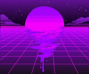 Canvas Prints Violet Retro 80s wave space, 1980s retro futuristic style background, digital landscape in the cyber world. For use as a cover for a music album. Suitable for any 80s style print design.
