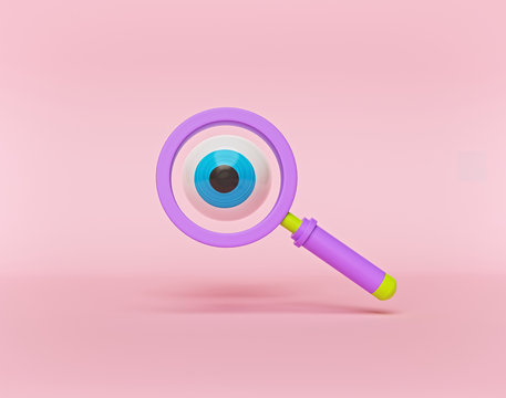 cartoon style eye and magnifying glass isolated on pink background. 3d rendering