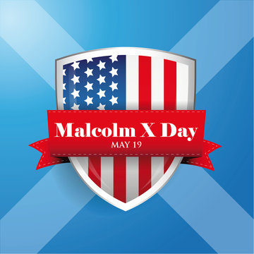 Malcolm X Day badge with ribbon