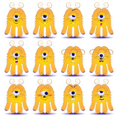 A set of 12 yellow monsters that express different emotions. Vector aliens with different feelings. Animated freaks for the image on dishes, textiles, paper, as stickers.
