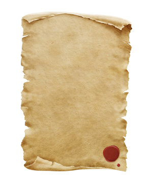 Red wax seal on old paper manuscript or papyrus scroll vertically oriented isolated on white background.