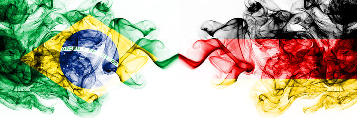 Papiers peints Brésil Brazil, Brazilian vs Germany, German smoky mystic flags placed side by side. Thick colored silky abstract smoke flags combination