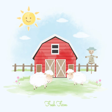 Fresh farm sheep, scarecrow and barn hand drawn animal illustration