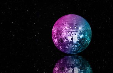 Wall Mural - Party disco mirror ball reflecting on the water - purple lights