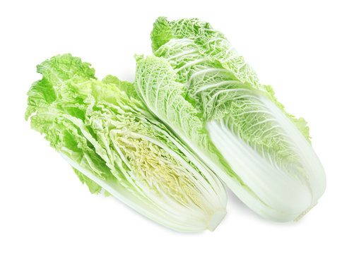 Fresh ripe Chinese cabbages isolated on white, top view