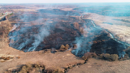 Forest and field fire. Dry grass burns, natural disaster. Aerial view.