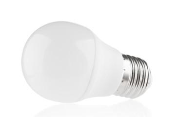 LED light bulb close up on white background