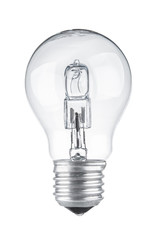 Light bulb close up isolated on white background