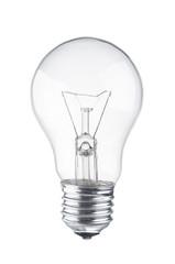 Light bulb close up on white background