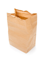 Recycle paper bag close up isolated on white background