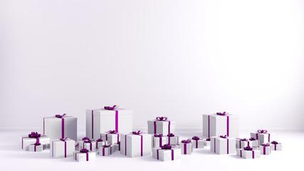 Pink Ribbon White Gift Boxes