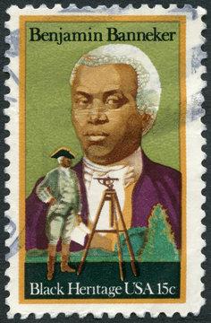 USA - 1980: shows Portrait of Benjamin Banneker (1731-1806), Astronomer and Mathematician, Transverse, Black Heritage, 1980