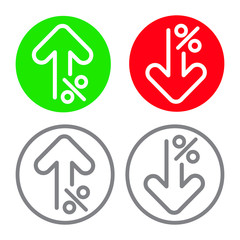 Percent up and percent down line arrow icon, vector illustration