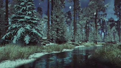 Wall Mural - Peaceful woodland scenery with small creek among snow covered fir trees in conifer forest in early winter with first frosts and snow at dusk during slight snowfall. 3D animation rendered in 4K