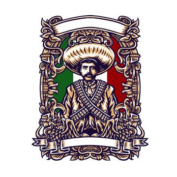 Emiliano zapata mexico, vector illustration