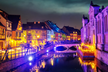 Old town of Colmar, Alsace, France, illuminated for Christmas celebrations