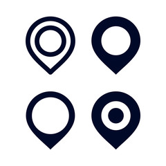 Set of Pin Location vector, Location pin icon vector on white background. Map Point Icon