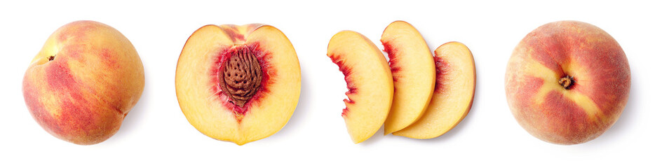 Fresh ripe whole, half and sliced peach