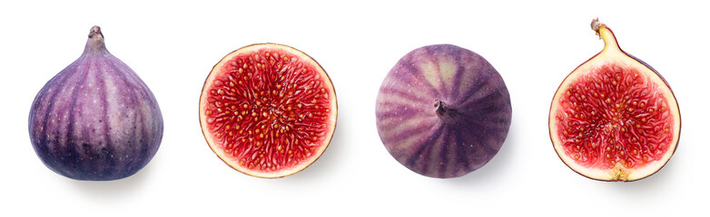 Fresh whole and sliced fig on white background Fototapete