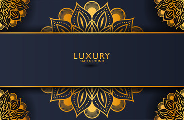 Luxury gold mandala ornate background for wedding invitation, book cover. Arabesque islamic background