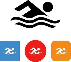 Person Swimming Freestyle Vector Icon