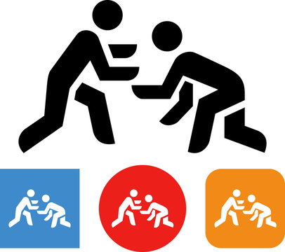Two People Wrestling Vector Icon