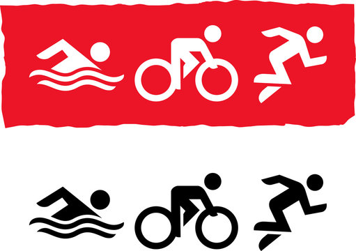 Triathlon Athletes Swim Bike Run Vector Icon