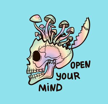 rainbow skull with growing mushrooms, psy art illustration