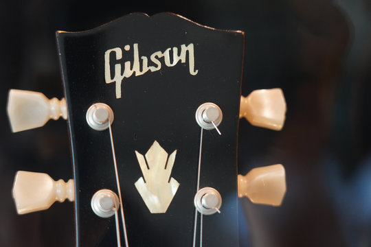 BANGKOK,THAILAND-NOVEMBER 30: View of Gibson Guitar Logo on November 30,2019