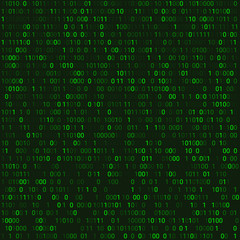 Green matrix abstract background with programming binary code. Vector illustration with number in modern style.